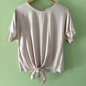 Madewell Striped Tie Front Pink/White Top
